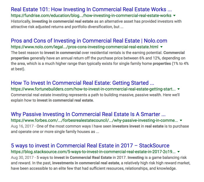 keyword research for commercial real estate